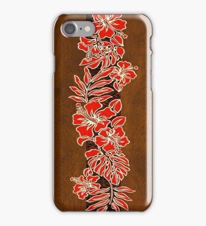 Kalaheo Hawaiian Hibiscus Faux Koa Wood Surfboard - Red iPhone Case/Skin