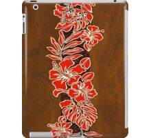 Kalaheo Hawaiian Hibiscus Faux Koa Wood Surfboard - Red iPad Case/Skin