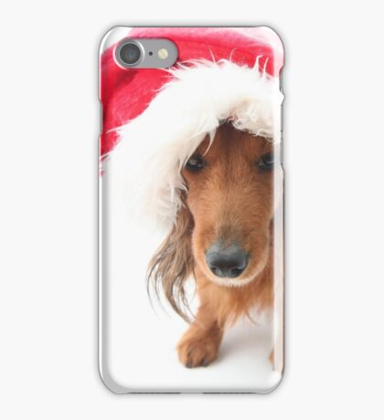 Sweet red-haired dachshund wearing Santa hat for Christmas iPhone Case/Skin