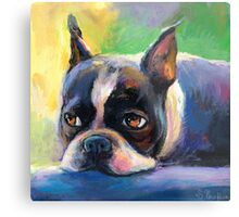 Boston Terrier pensive Dog painting Svetlana Novikova Metal Print