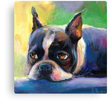 Boston Terrier pensive Dog painting Svetlana Novikova Canvas Print