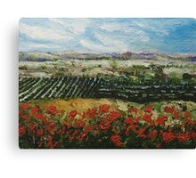 Hill with Red Flowers Canvas Print