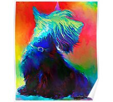 Vibrant Scottish Terrier dog painting Svetlana Novikova Poster