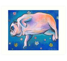 Whimsical Bulldog dreaming painting Svetlana Novikova Art Print