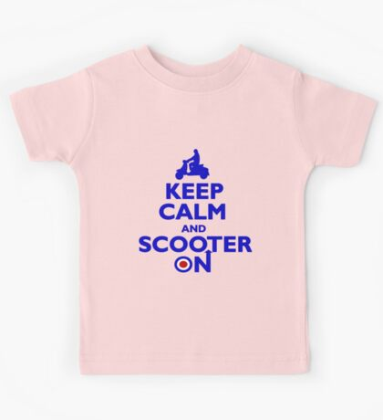 Keep Calm and Scooter On (blue) Kids Tee