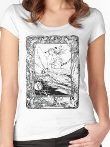 The Girl Riding the Dragonfly  Women's Fitted Scoop T-Shirt