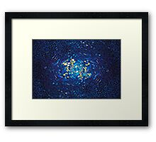 3D Blue Glass Mosaic with light reflections Framed Print