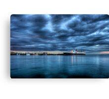 Hebridean Princess in Peel Harbour under a moody sky Canvas Print