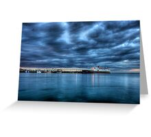 Hebridean Princess in Peel Harbour under a moody sky Greeting Card