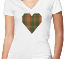 00386 Bird of Paradise Tartan  Women's Fitted V-Neck T-Shirt