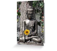 Glasgow Buddha with Sunflower Greeting Card