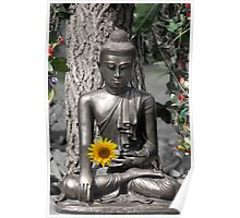 Glasgow Buddha with Sunflower Poster