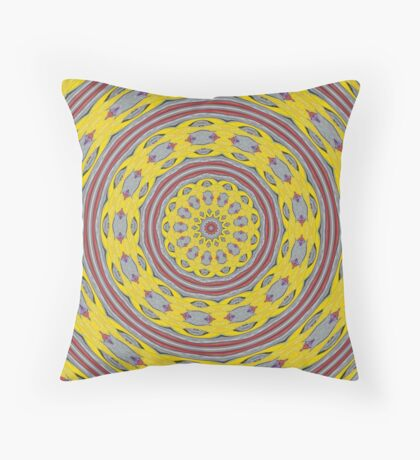Patterned Kaleidoscope in Yellow and Gray Throw Pillow