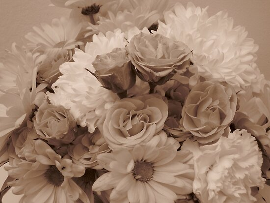 Floral Arrangement in Sepia by Glenn Cecero