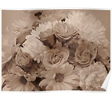 Floral Arrangement in Sepia Poster