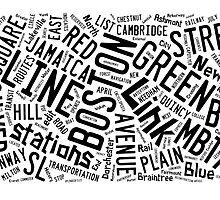 Boston Subway or T Stops Word Cloud by Edward Fielding