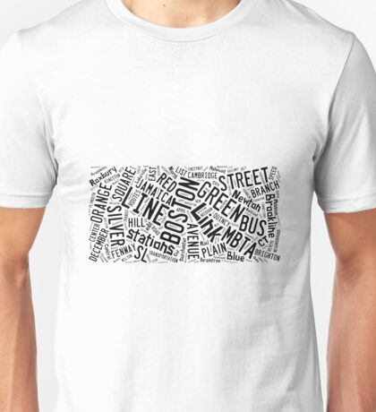 Boston Subway or T Stops Word Cloud Unisex T-Shirt