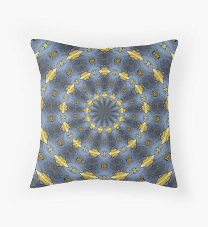 Gray and gold Kaleidoscope pattern Throw Pillow