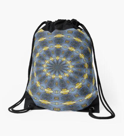 Gray and gold Kaleidoscope pattern Drawstring Bag