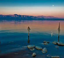 Salton Sea Moon Set, Early AM by photosbyflood