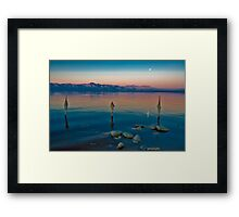 Salton Sea Moon Set, Early AM Framed Print