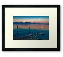 Salton Sea Moon Set, Early AM Framed Print