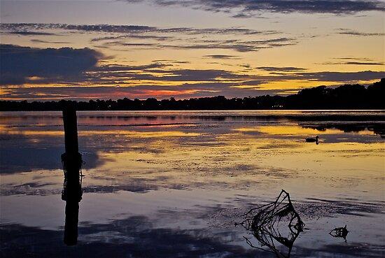 Sunrise on the Budgewoi Lake. ( 11-2-11 ) by Warren  Patten