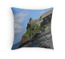 sea view at Polperro Throw Pillow