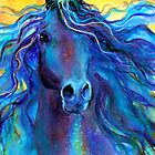 Blue Arabian Horse painting Svetlana Novikova by Svetlana  Novikova