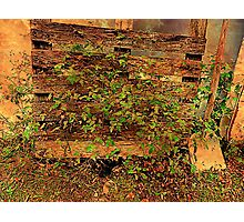 Country Fence With Shovel Photographic Print