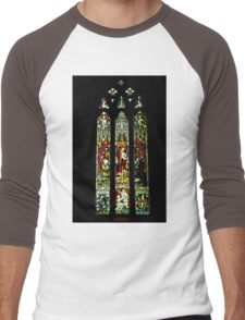 0545 Stained Glass Window Men's Baseball ¾ T-Shirt