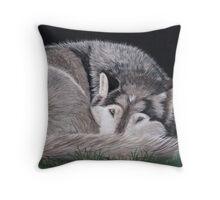 Preparing for Sleep - Wolf Throw Pillow