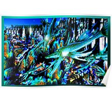 """""""underwater landscape with blue fish"""" Poster"""