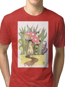 Fairy Toadstool Watercolour Tri-blend T-Shirt