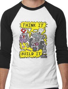 Think Build Robot Men's Baseball ¾ T-Shirt