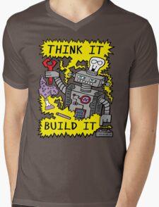 Think Build Robot Mens V-Neck T-Shirt