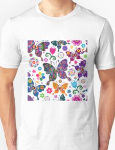 Colorful Retro Butterfly's And Flowers Pattern T-Shirt