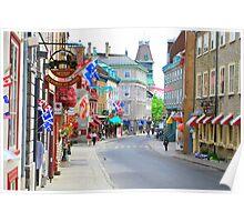 Colourful Quebec City Shops Poster