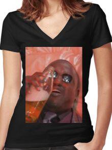 MORPHEUSDRINKINAFORTYINADEATHBASKET Women's Fitted V-Neck T-Shirt