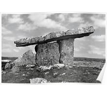 ancient poulnabrone dolmen tomb in black and white Poster