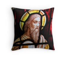 Stained glass window, St Mary Magdalene church, Adlestrop, UK Throw Pillow