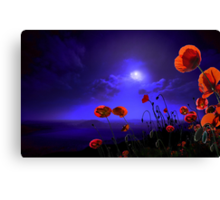 Poppies Blue Canvas Print