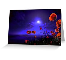 Poppies Blue Greeting Card