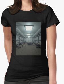 Space Station Hanger Deck Womens Fitted T-Shirt