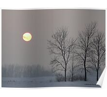 Sun in the Sky on a Snowy Day Poster