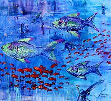Fishscape with squid by Regina Valluzzi