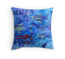 Fishscape with squid Throw Pillow