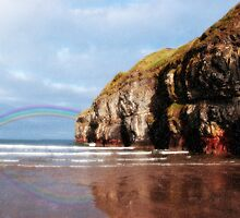 ballybunion beach summer shower rainbow by morrbyte