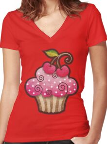 Cherry Berry Cupcake Women's Fitted V-Neck T-Shirt