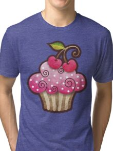 Cherry Berry Cupcake Tri-blend T-Shirt